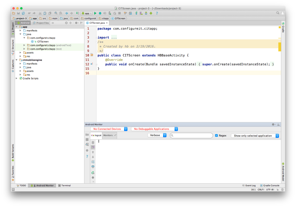 Code example - Android Studio
