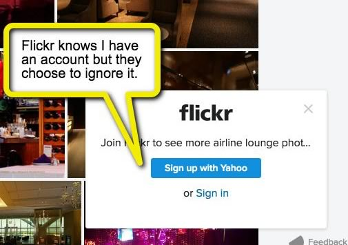 Flickr's login 'reminder'.