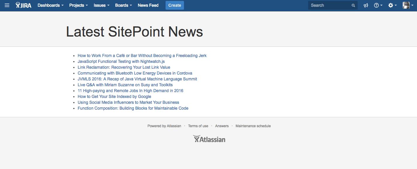 SitePoint News JIRA Page