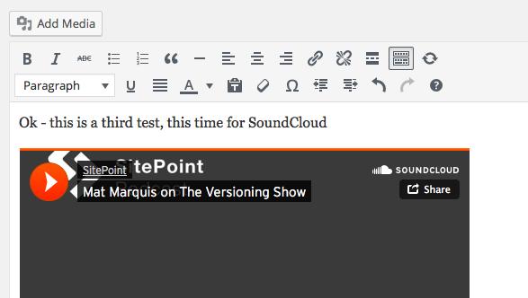 Embed SoundCloud WordPress
