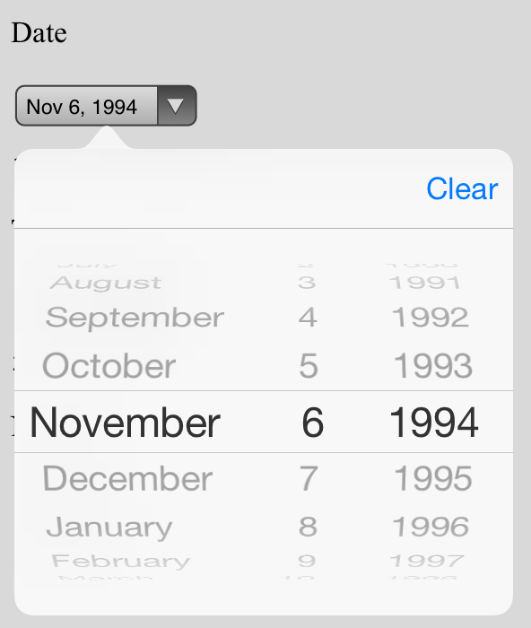 Datepicker on iOS