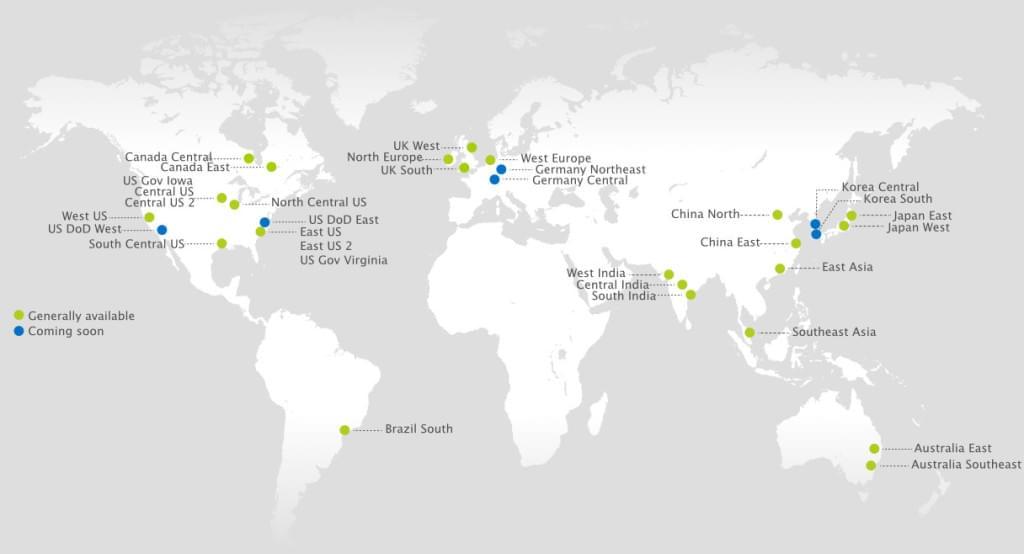 Azure server locations