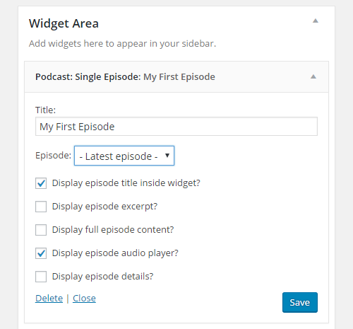 single episode widget