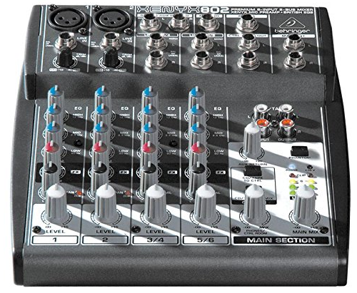 The Behringer Xenyx 802 Audio Mixer