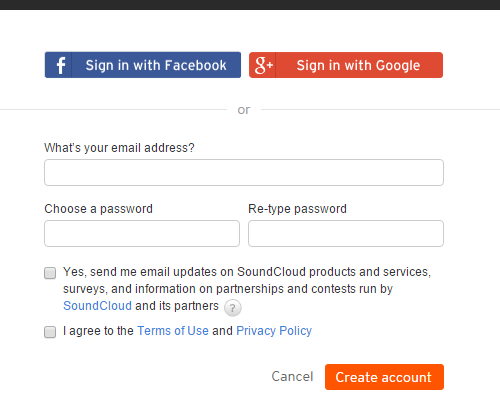Create an account on SoundCloud