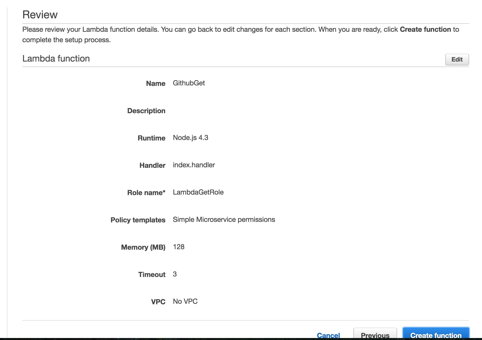 Review screen summarizing the chosen options