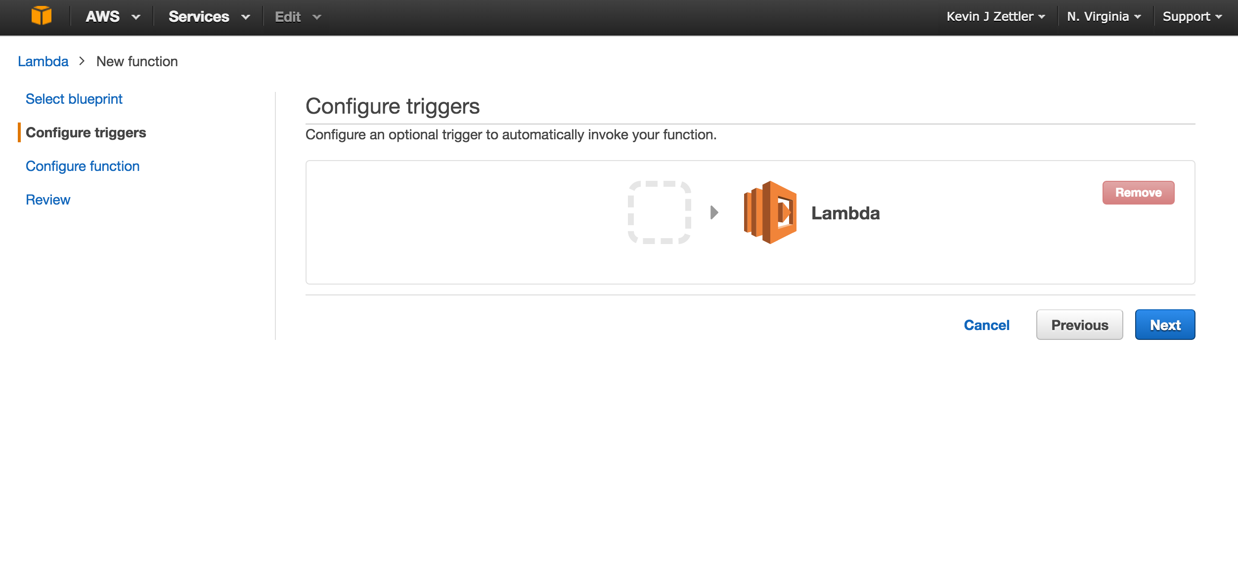Screenshot of the Configure triggers screen