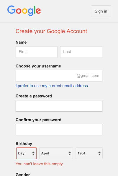 Figure 3: Google account creation