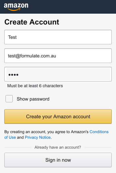 Figure 6: Amazon account creation reimagined