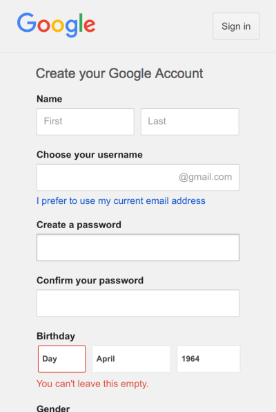 Figure 4: Google's account creation tweaked.