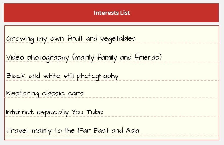 Interests List