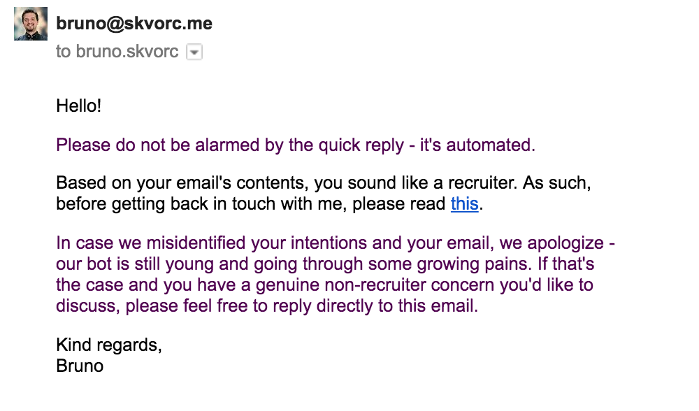 An automatic reply to recruiter spam
