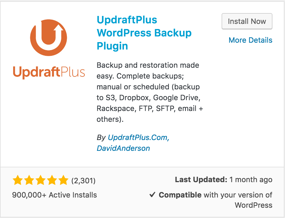 Updraft Plus - Showing compatibility with WordPress