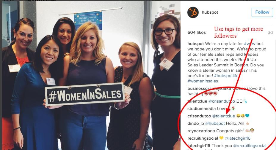 Follower engagement on Hubspot's Instagram