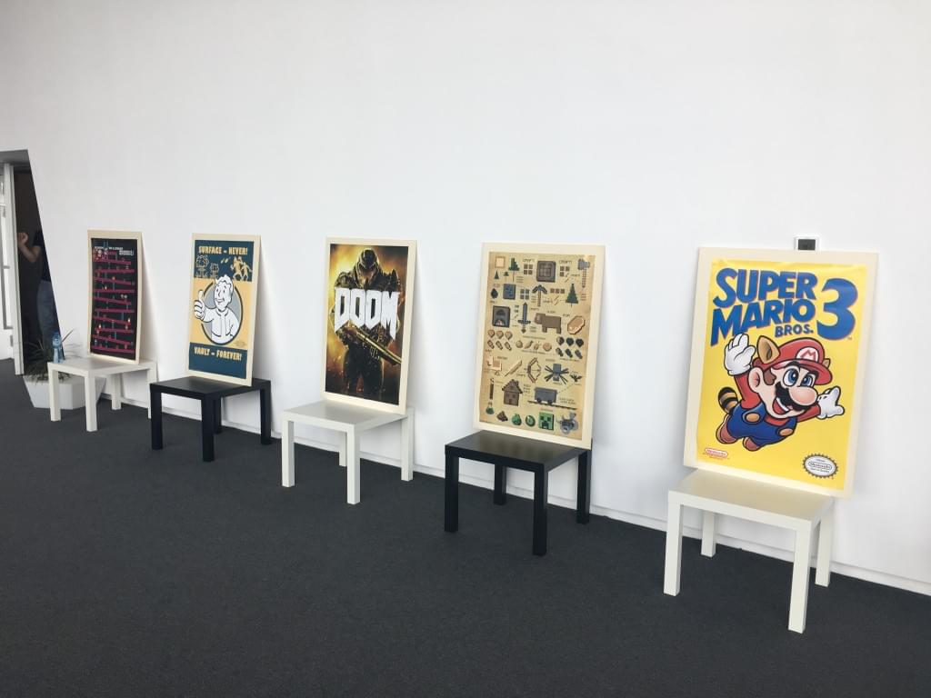 Gaming posters on display in the hallway