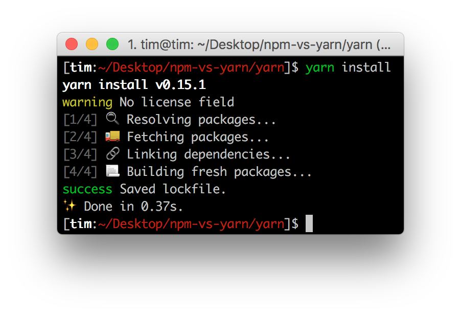 "Yarn vs npm - The output of the ""yarn install"" command"