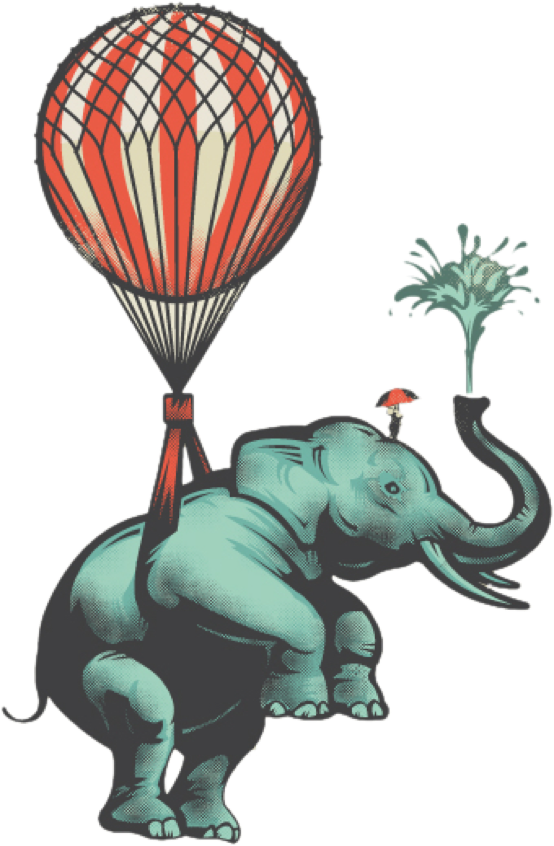 Flying baloon-tied elephpant