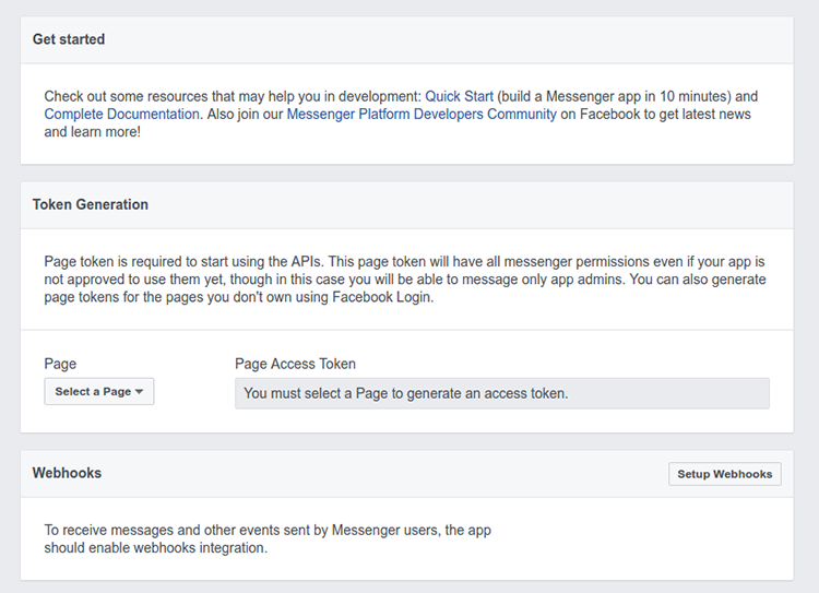 Screenshot of the Facebook Messenger Settings page