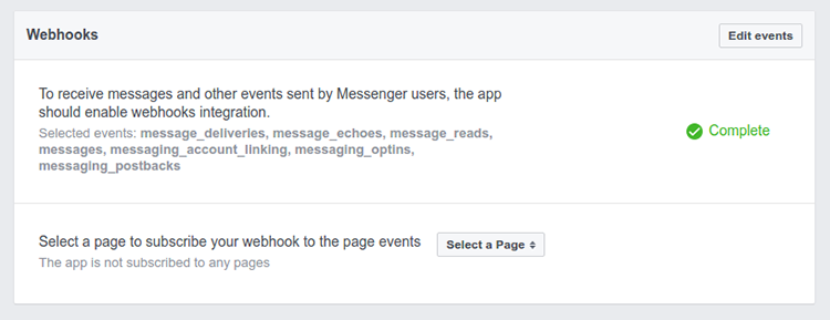 Webhooks panel showing 'complete' message