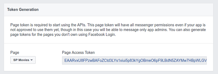 Token Generation section showing Page Access Token