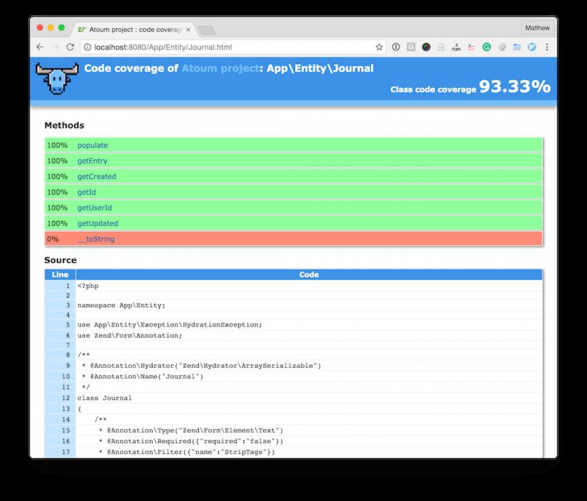 atoum's HTML code coverage report