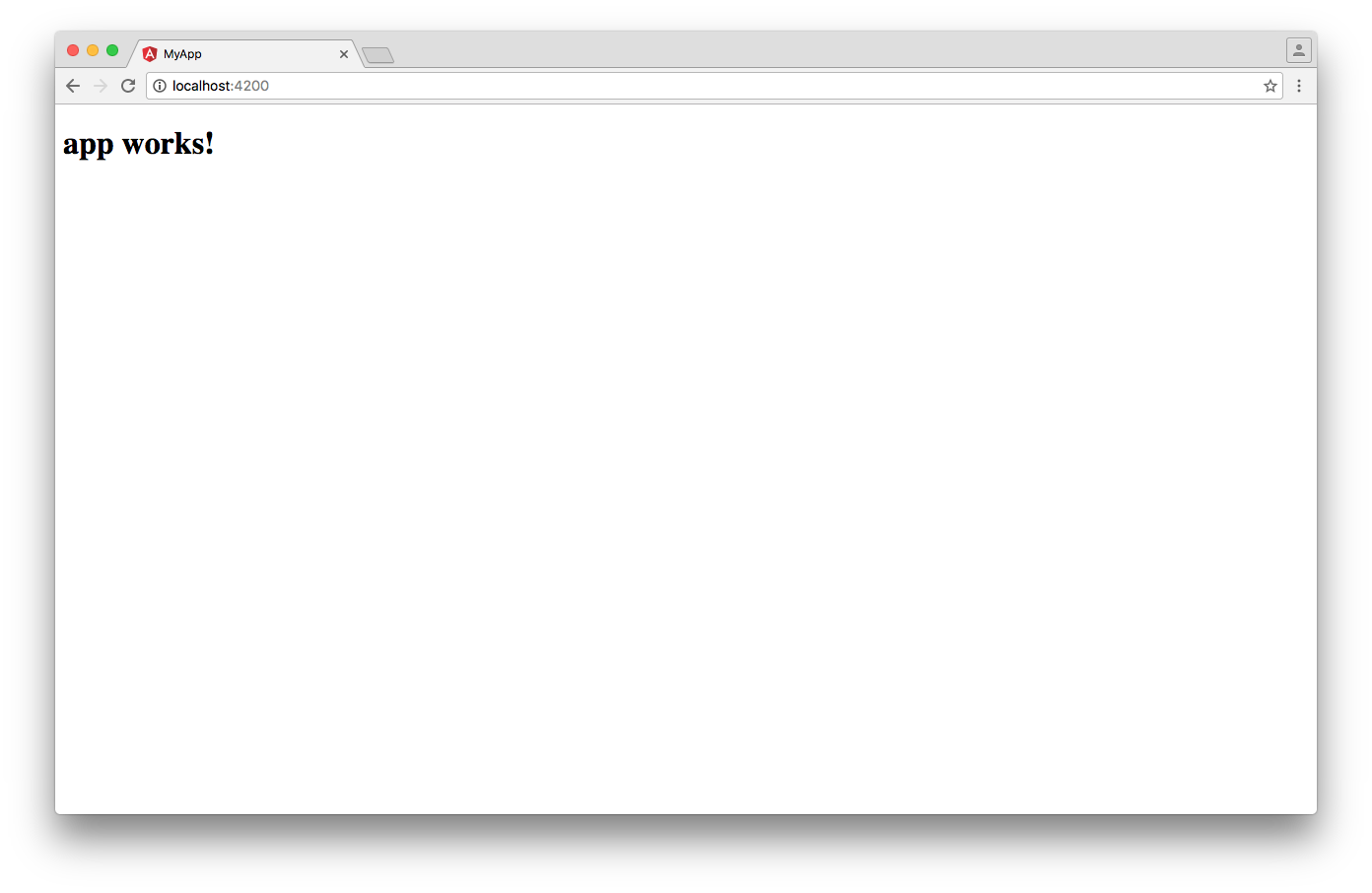 Angular CLI: Screenshot of the app running in the browser, displaying the text 'app works!'