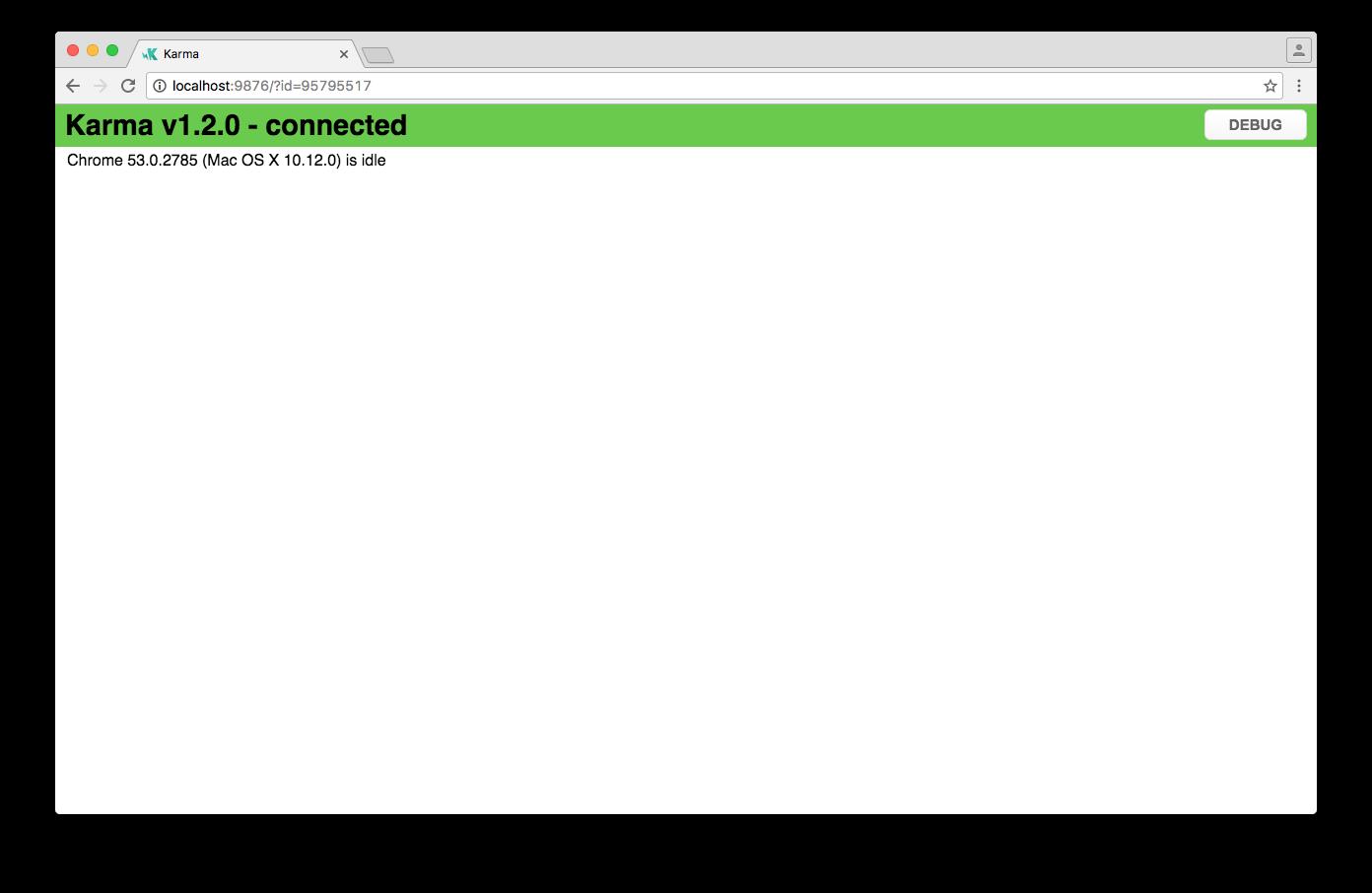 Angular CLI: Browser window showing the Karma test runner screen