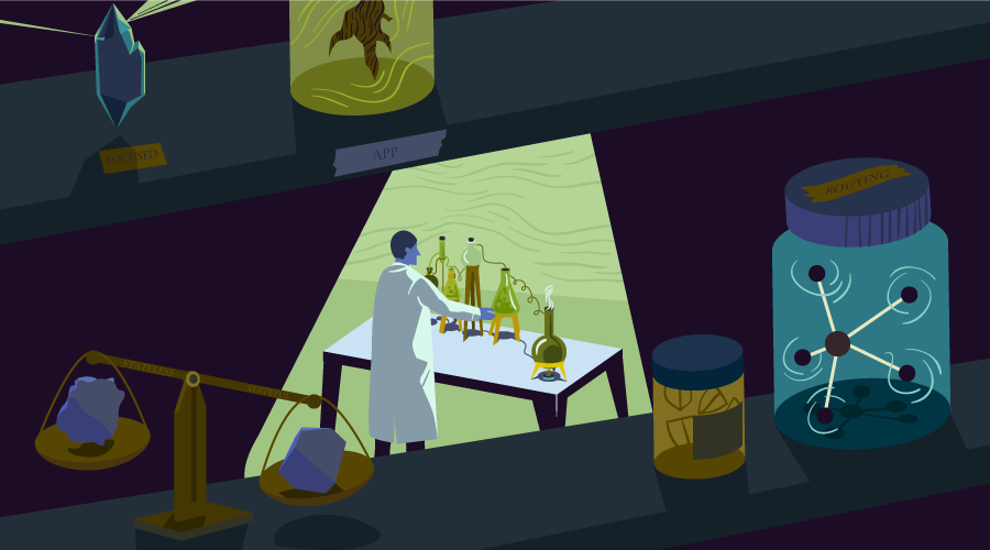 A scientist with various flasks and jars