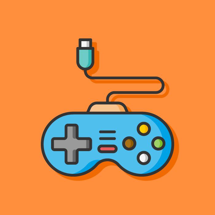 Vector image of an old school joystick