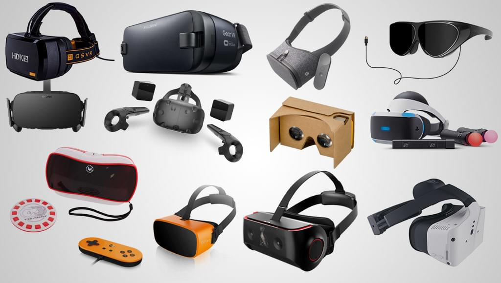 A collage of VR headsets
