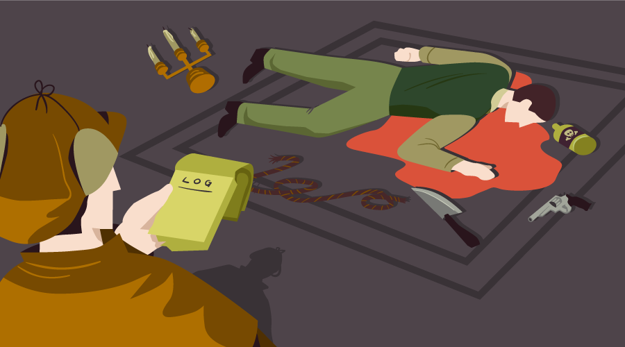 Detective makes notes while standing over a dead body, surrounded by potential murder weapons