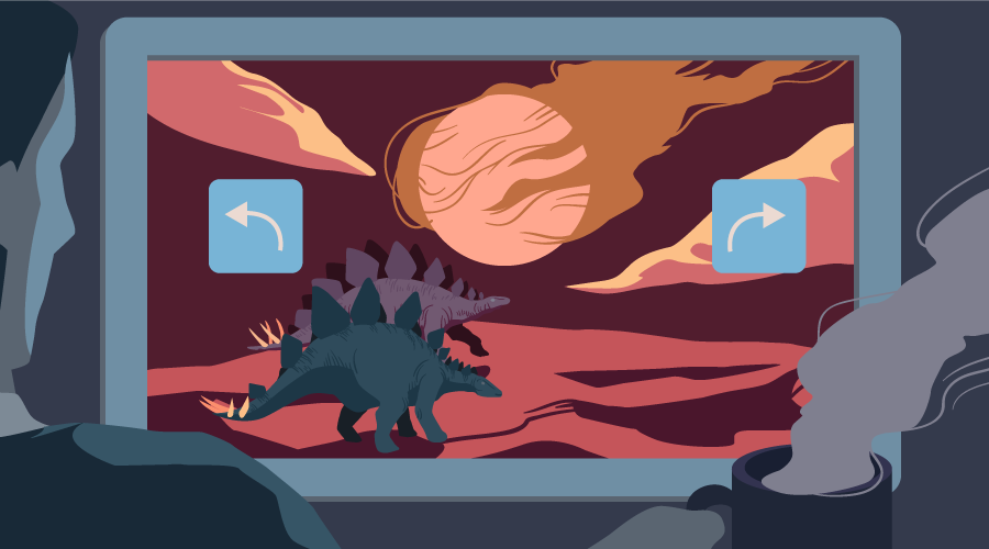 A monitor with two dinosaurs, a rapidly approaching meteor and undo/redo buttons