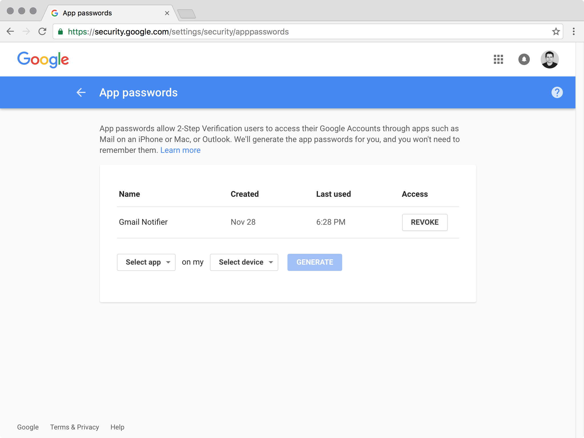 Creating new Google application-specific passwords