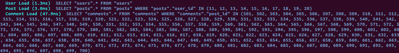 All data is loaded in just 3 queries, one for users, one for posts, and one for comments related to posts