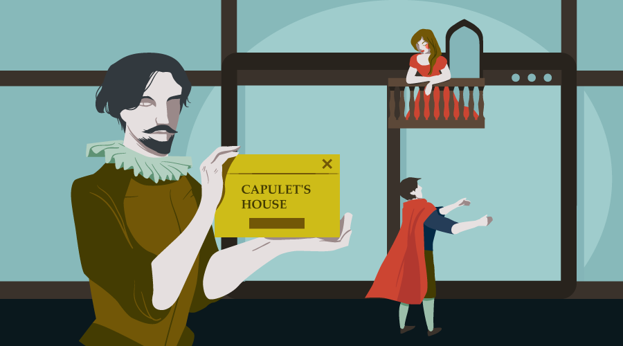 Shakespeare holding a caption card in front of a scene from Romeo and Juliet