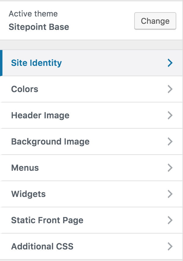 WordPress Customizer SitePoin Base Theme