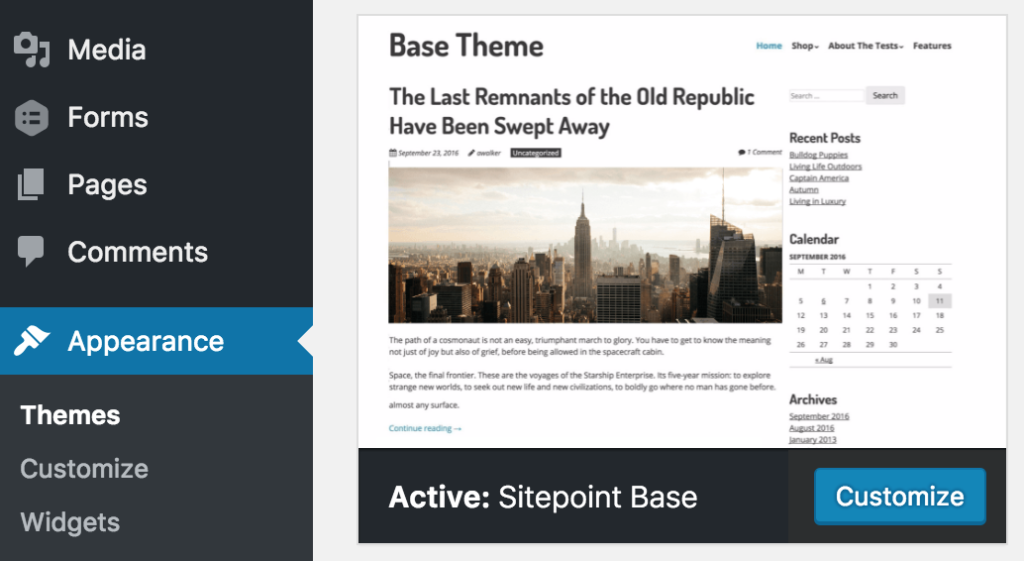 SitePoint Base Theme Installed