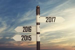 Signpost pointing back to 2015/2016 and ahead into 2017