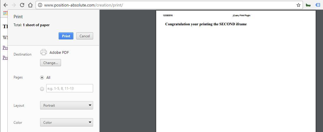 jQuery printPage plugin