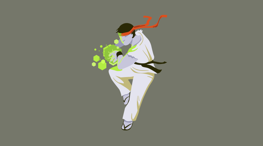 A Street Fighter-like character leaping into the air, gathering energy between his hands - level up your Node skills