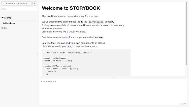 React Storybook Default User interface