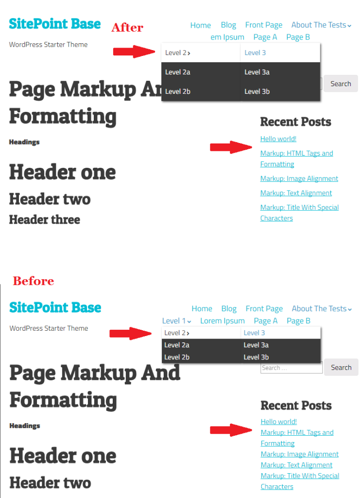 SitePoint base theme smaller changes