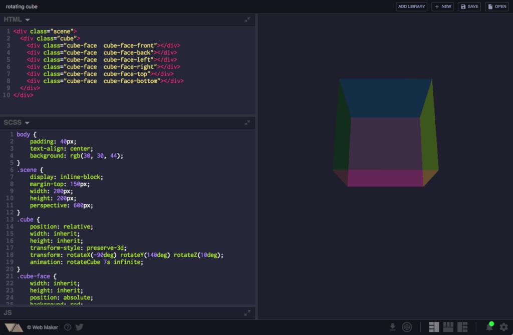 A screen shot of the Web Maker interface