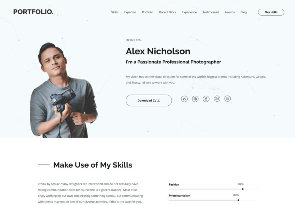SitePoint WordPress Portfolio Theme screenshot