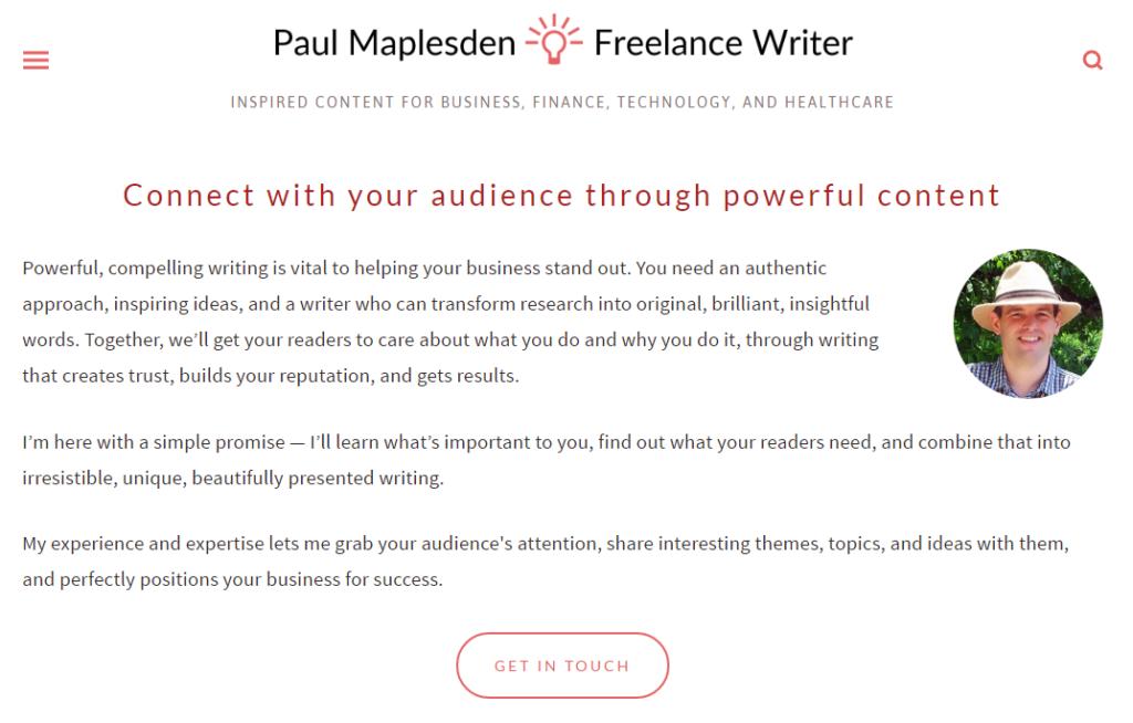 Example writer's portfolio