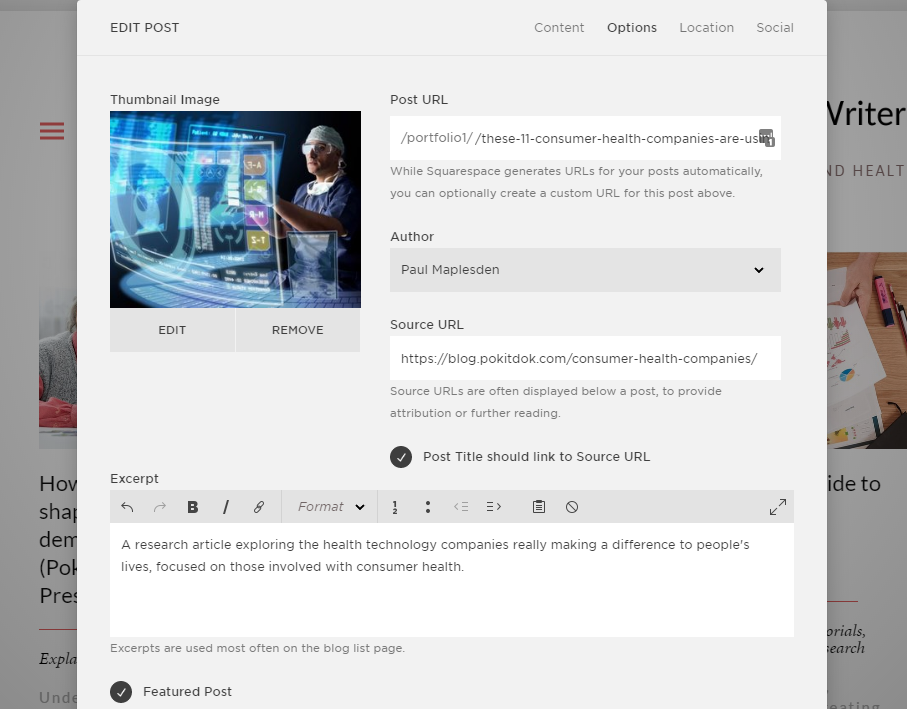 Create portfolio blog entries
