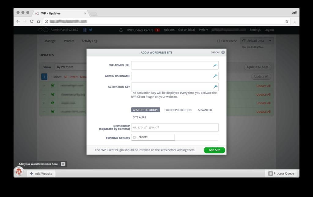 InfiniteWP Add Site