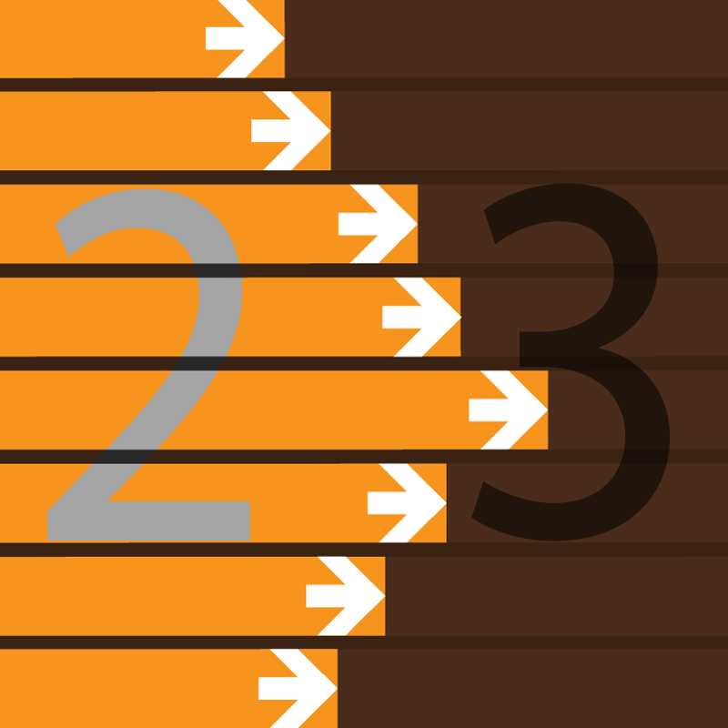 Abstract image of parallel tracks with superimposed numbers 2 and 3, indicating version change