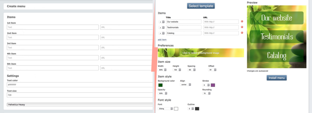 Menu creation interface