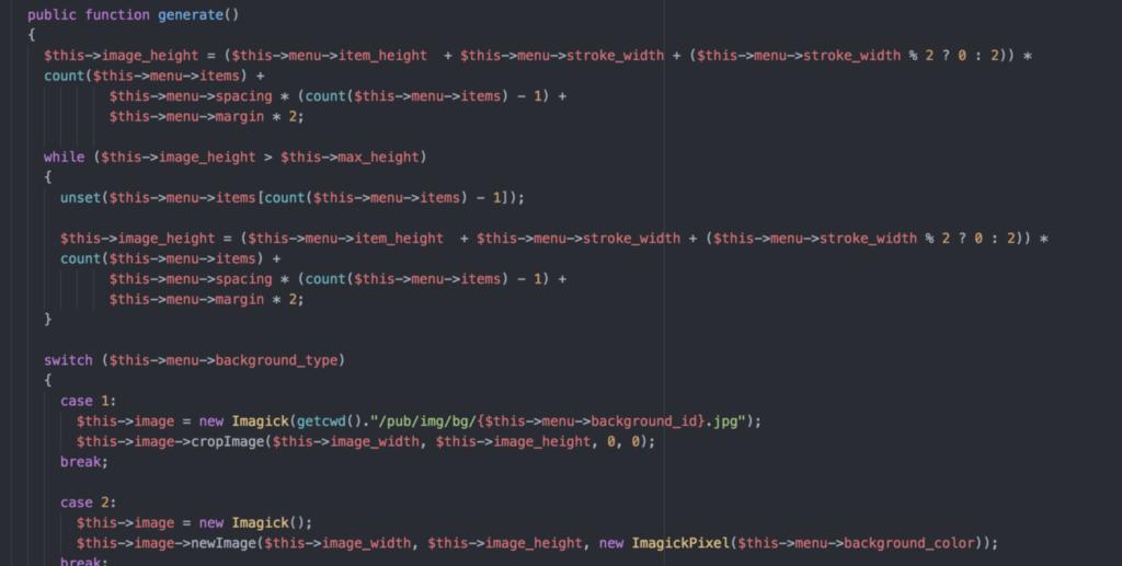 Menu generator code